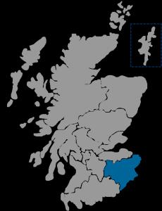 NHS Scotland Healthboard map highlighting NHS Borders region