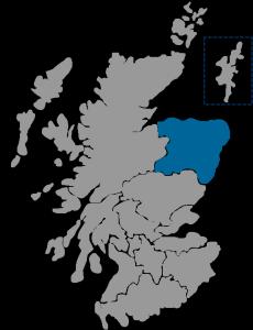 NHS Scotland Healthboard map highlighting NHS Grampian region