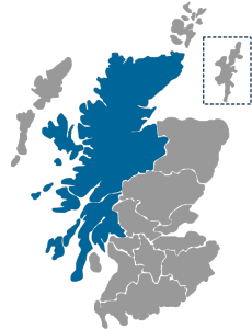 NHS Scotland Healthboard map highlighting NHS Highland region