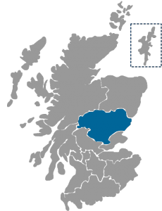 NHS Scotland Healthboard map highlighting NHS Tayside region