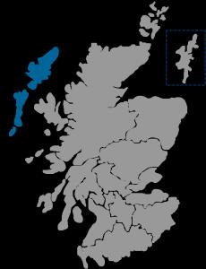 NHS Scotland Healthboard map highlighting NHS Western Isles region